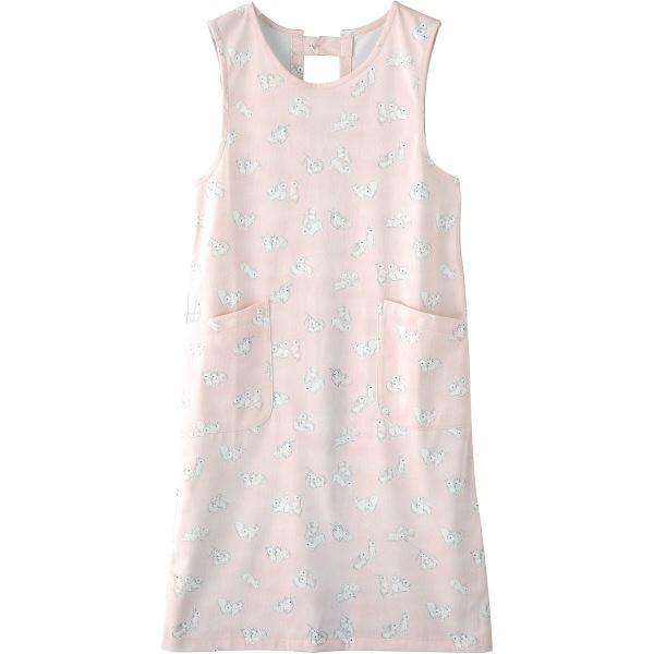 フランシュリッペ エプロン(ロング丈) ピンク(うじゃうじゃうさぎ柄) MS-21072P 医療白衣 エプロン 予防衣 1枚 (取寄品)
