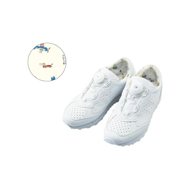 フランシュリッペ フリーロックジョギングスニーカー ホワイト×TOY柄プリント L 90005P ナースシューズ 1足 (取寄品)