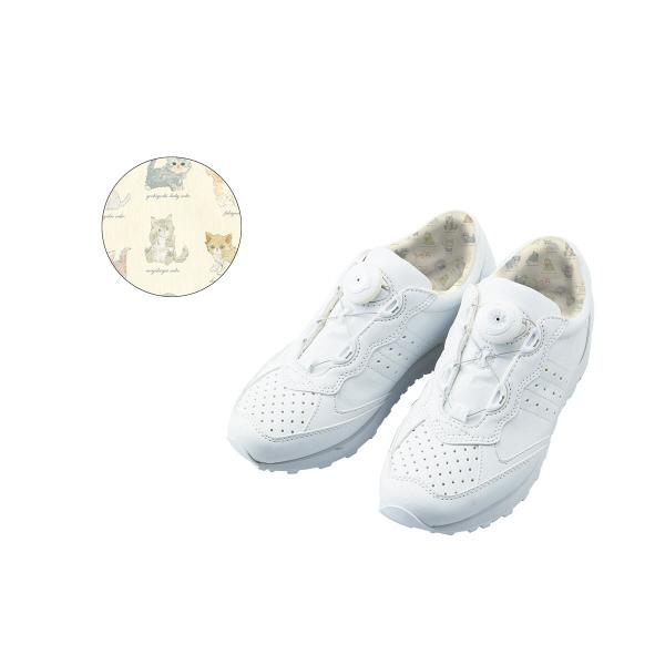 フランシュリッペ フリーロックジョギングスニーカー ホワイト×ねこ図鑑柄プリント S 90005P ナースシューズ 1足 (取寄品)