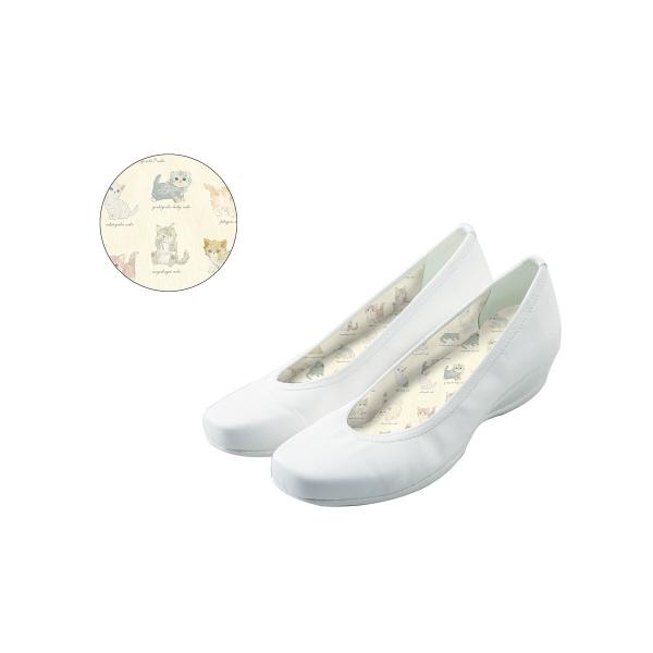 フランシュリッペ コンフォートパンプス ホワイト×ねこ図鑑柄プリント L 90006P ナースシューズ 1足 (取寄品)