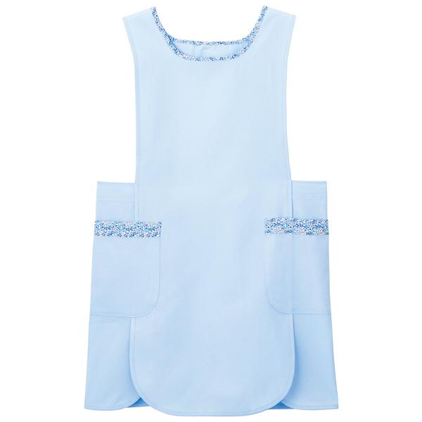 ナガイレーベン ケアガウン ブルー M LBE-4320 エプロン 予防衣 1枚 (取寄品)