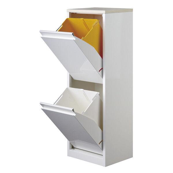 筑波産商 ダストボックス 2分別タイプ ホワイト 18L×2 幅320mm (取寄品)