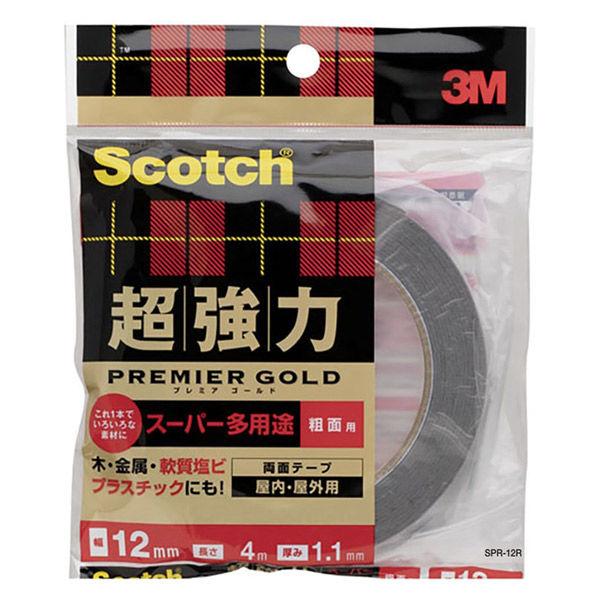 3M スコッチ(R) 超強力両面テープ プレミアゴールド スーパー多用途 粗面用 1.1mm厚 幅12mm×4m巻 SPR-12 スリーエム ジャパン