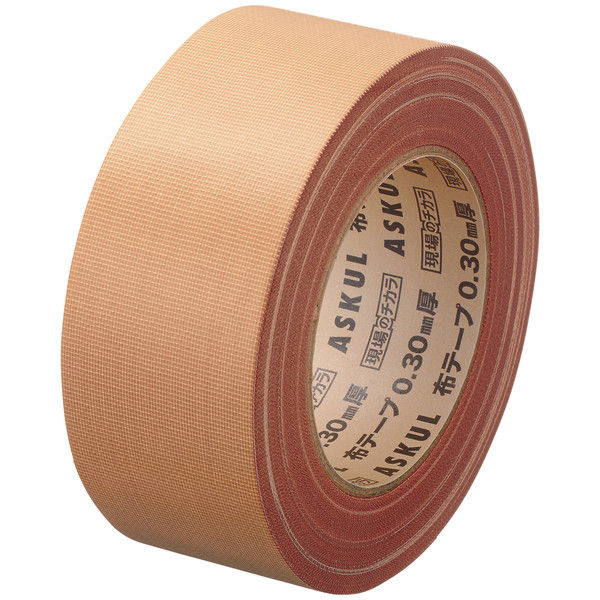 「現場のチカラ」 布テープ 重梱包用ストロング 0.30mm厚 50mm×25m巻 茶 1セット(5巻:1巻×5) アスクル