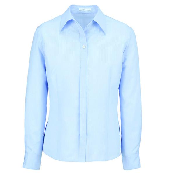 BON(ボン) 事務服 長袖開襟ブラウス ブルー 9号