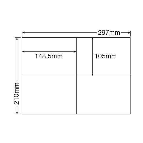 東洋印刷 ナナコピー粘着ラベル(コピー&レーザープリンタ用ラベル) 4面 はがきサイズ コピー機用面付 C4i 1箱(500シート入)