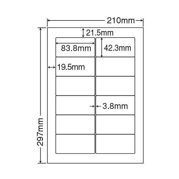 東洋印刷 ナナワード粘着ラベル(ワープロ&レーザー用ラベル) 12面 汎用・インチ改行角丸 LDW12PG 1箱(500シート入)
