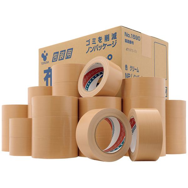 包装用布テープ(ノンパッケージ) 0.2mm厚 50mm×25m巻 クリーム No.1590NP 1箱(30巻入) 寺岡製作所