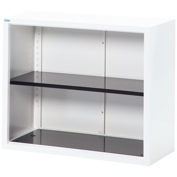 Ceha A4スチール書庫 オープン 2段 上置き用 ホワイト 幅880mm 奥行400mm 高さ730mm 1台