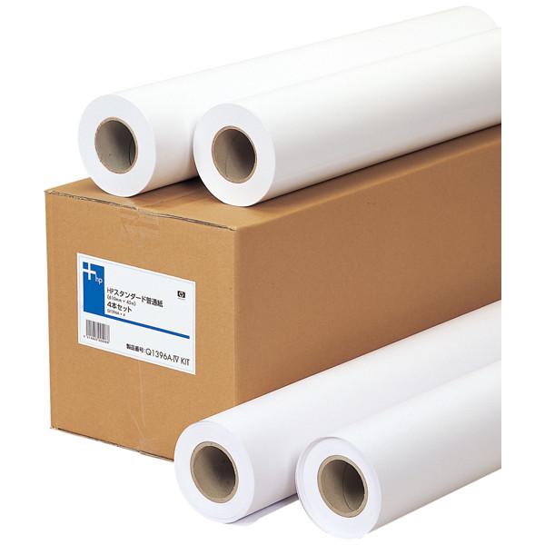 HP(ヒューレット・パッカード) プロッタ用紙 ロール紙 hp純正用紙 Q1396A4P 1セット(4ロール入) スタンダード普通紙