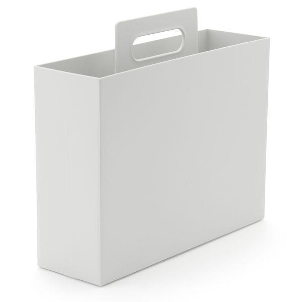 PP持ち手付きファイルボックスWG. 無印良品 ポリプロピレン持ち手付きファイルボックス・スタンダードタイプ・ホワイトグレー ...