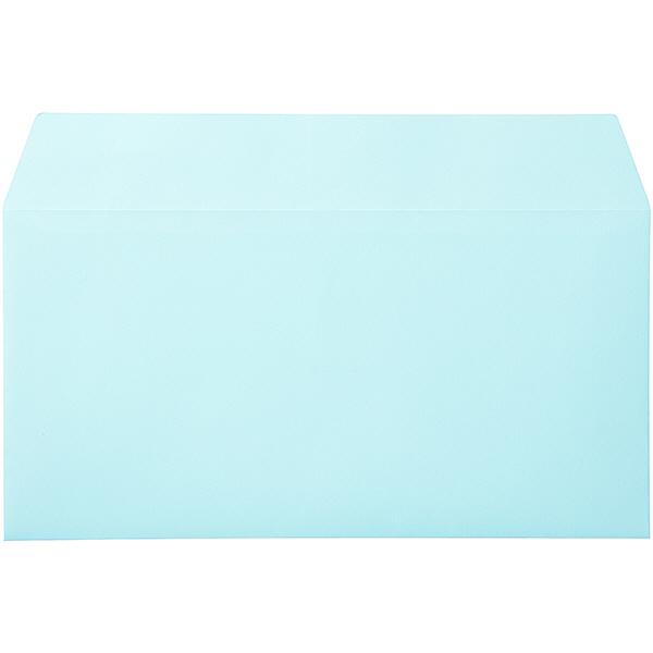 ムトウユニパック ナチュラルカラー封筒 長3横型 ブルー テープ付 100枚