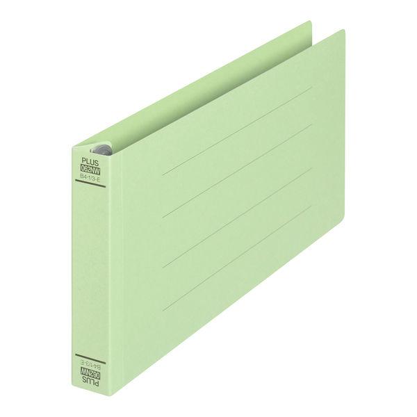 プラス フラットファイル(統一伝票用)樹脂製とじ具 背幅28mm グリーン NO.062NW 76036 1袋(10冊入)