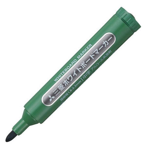 三菱鉛筆(uni) ホワイトボードマーカー 中字丸芯 緑 PWB4M 10本