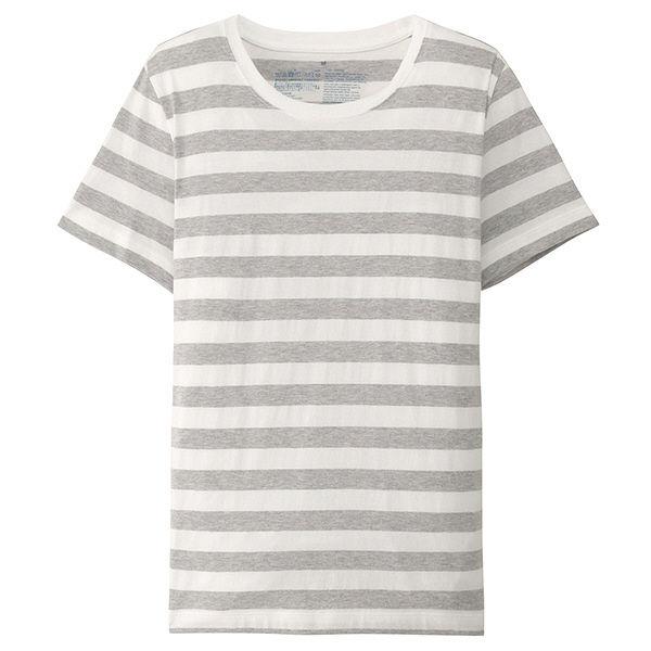 d6176f351af2b 無印 半袖Tシャツ(ボーダー) 婦人 S. 無印良品 オーガニックコットンクルーネック ...