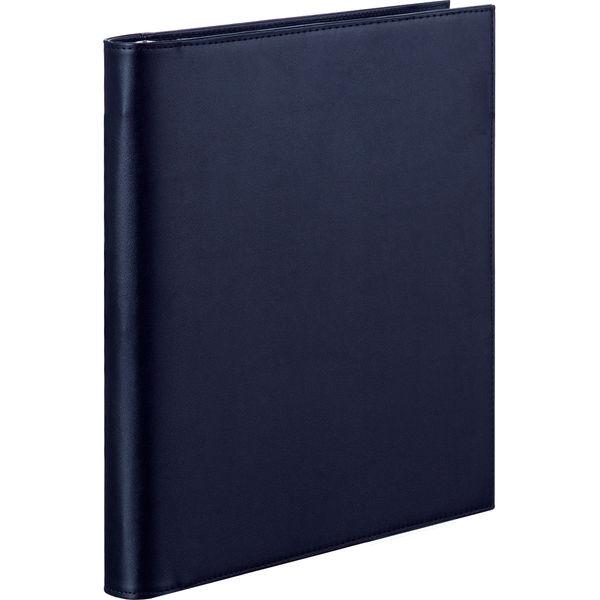 合皮製リングファイル 30穴 A4タテ 3冊 アスクル ブラック