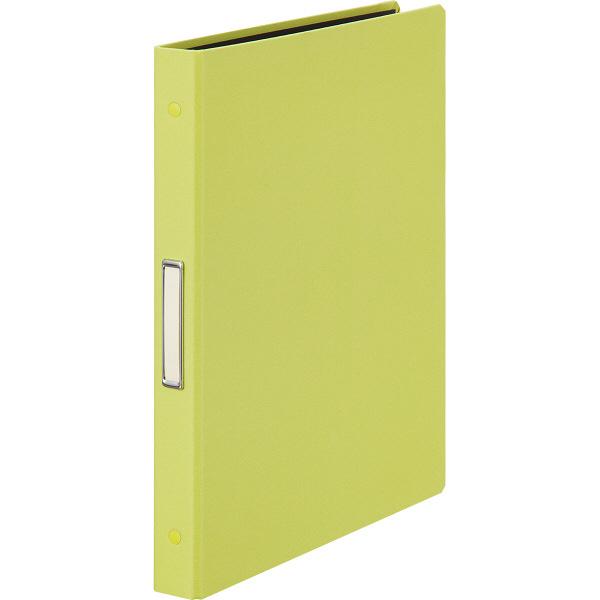 布貼りリングファイル 30穴 A4タテ 背幅34mm 3冊 アスクル ライトグリーン