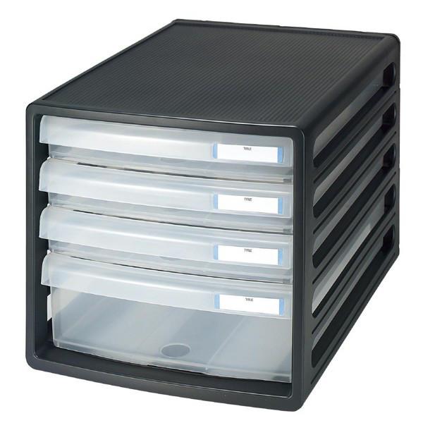 プラス レターケース 浅型3段深型1段 ブラック 16141 1箱(8台入)