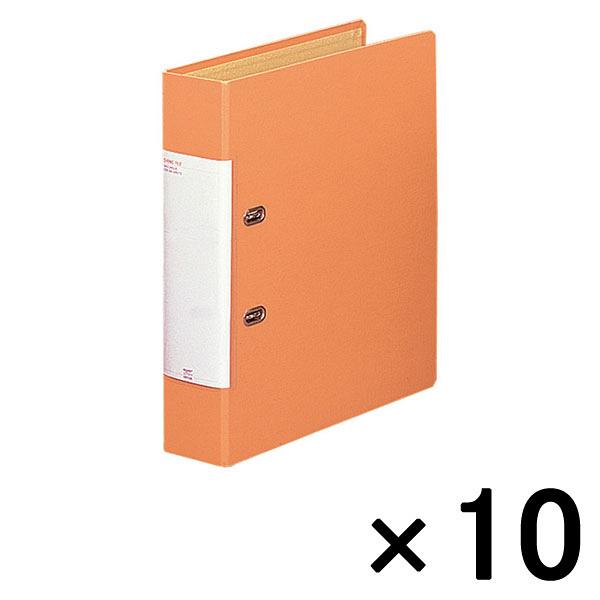 リヒトラブ D型リングファイル(くるみ貼り) A4タテ 背幅69mm だいだい 1箱(10冊入)