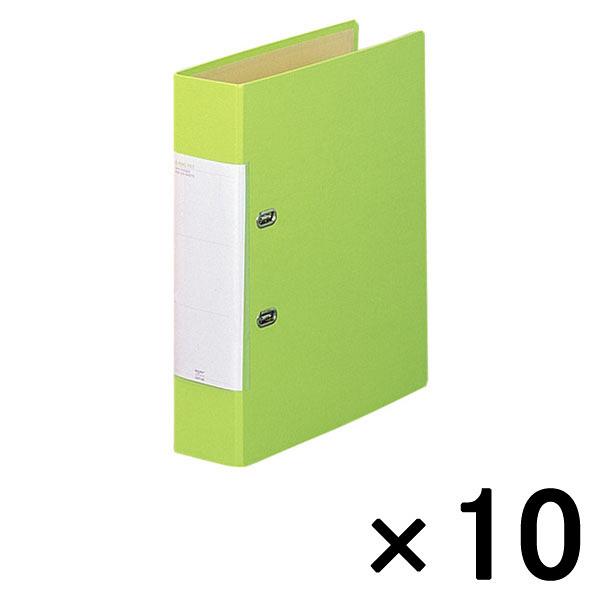 リヒトラブ D型リングファイル(くるみ貼り) A4タテ 背幅69mm 黄緑 G2250 1箱(10冊入)