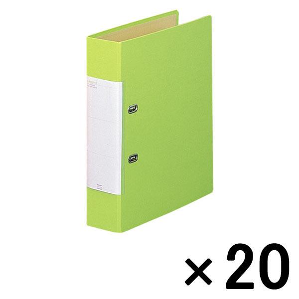 リヒトラブ D型リングファイル(くるみ貼り) A4タテ 背幅69mm 黄緑 1箱(20冊:10冊入×2袋)