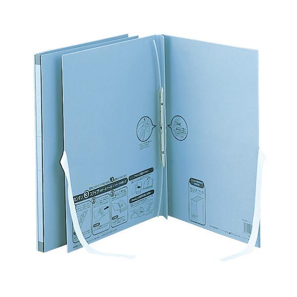 セキセイ のびーるファイル エスヤード 外ひも付 A4タテ ブルー 100冊 AE-50FH