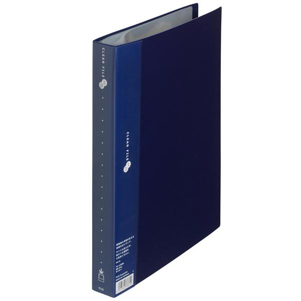 プラス スーパーエコノミークリアーファイル A4タテ 60ポケット ネイビー FC-126EL 88441 1箱(10冊入)
