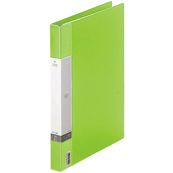 クリヤーブック 差し替え式 30穴 A4タテ 15ポケット 背幅2.5cm 10冊 黄緑 G3801-6 リヒトラブ