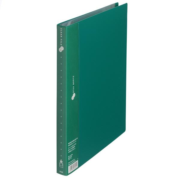 プラス スーパーエコノミークリアーファイル A4タテ 40ポケット グリーン FC-124EL 88433 1セット(30冊)