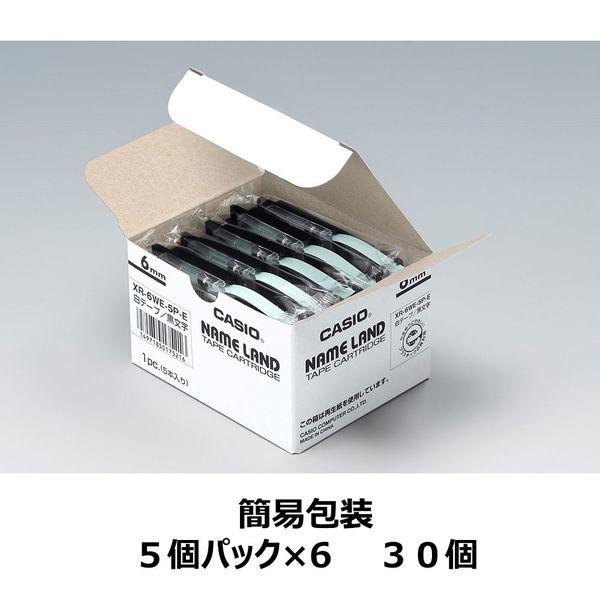 カシオ ネームランドテープ 6mm 白テープ(黒文字) 1セット(30個:5個入×6パック) XR-6WE-5PE