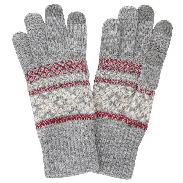 無印 ウール混雪柄タッチパネル手袋