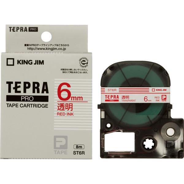 キングジム テプラ PROテープ 6mm 透明ラベル(赤文字) 1個 ST6R