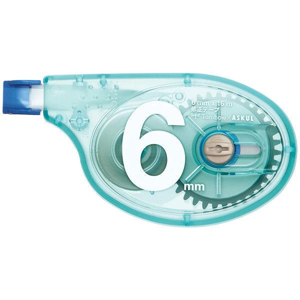 修正テープ アスクル×トンボ鉛筆 幅6mm×15m ブルー 10個 CT-YTA6AS