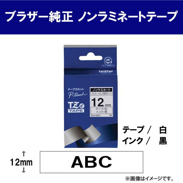 ブラザー ピータッチテープ ノンラミネート 12mm 白テープ(黒文字) 1個 TZe-N231