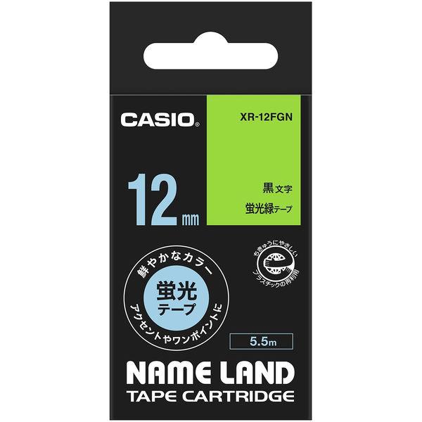 カシオ ネームランドテープ 蛍光 12mm 緑テープ(黒文字) 1個 XR-12FGN