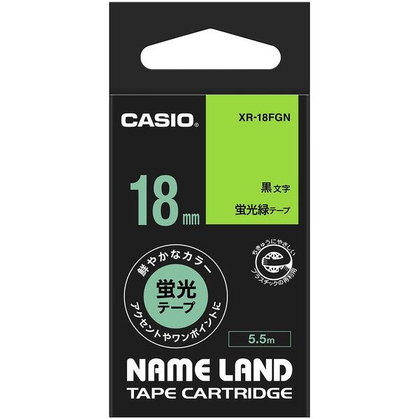 カシオ ネームランドテープ 蛍光 18mm 緑テープ(黒文字) 1個 XR-18FGN
