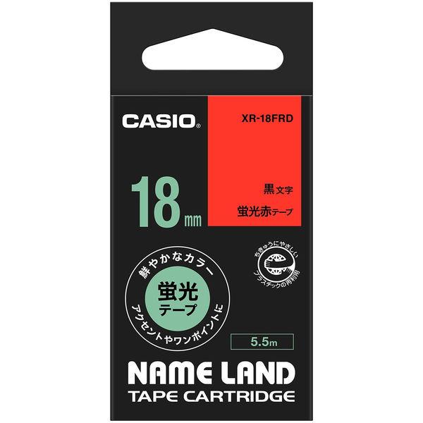 カシオ ネームランドテープ 蛍光 18mm 赤テープ(黒文字) 1個 XR-18FRD