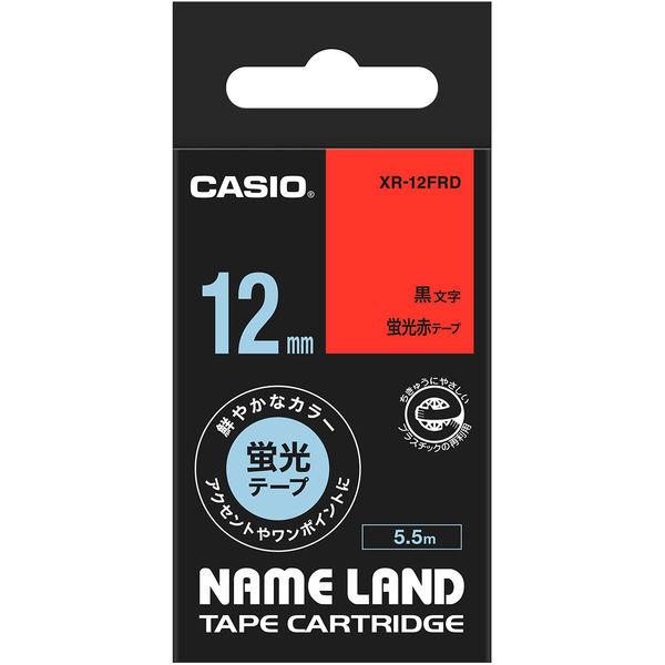 カシオ ネームランドテープ 蛍光 12mm 赤テープ(黒文字) 1個 XR-12FRD
