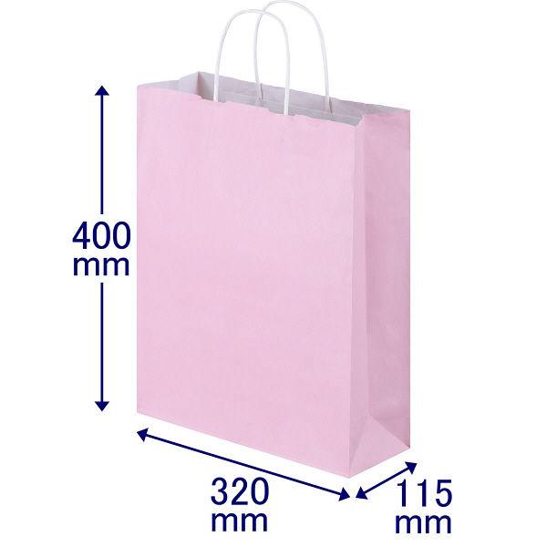 丸紐 手提げ紙袋 ピンク L 50枚