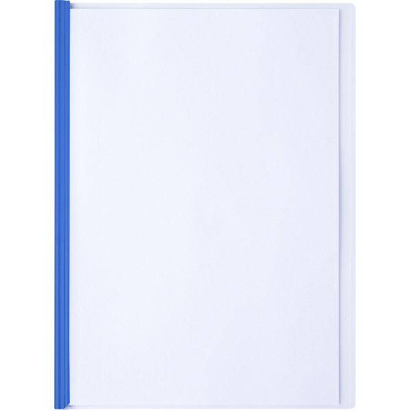 アスクル レール式クリアーホルダー A4タテ 50枚とじ ブルー 10冊