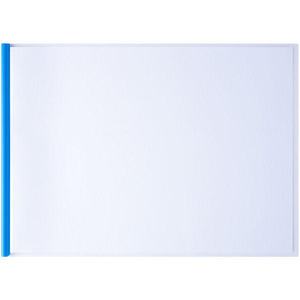 レール式クリアーホルダー A3ヨコ 50枚とじ 5冊 ブルー アスクル
