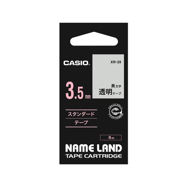 カシオ ネームランドテープ 3.5mm 透明テープ(黒文字) 1個 XR-3WE