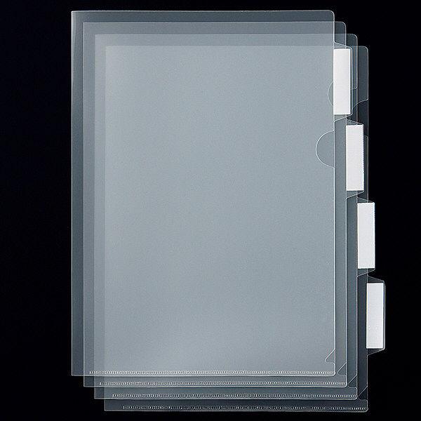 アスクル クリアホルダー 4山インデックス付 1箱(30セット)