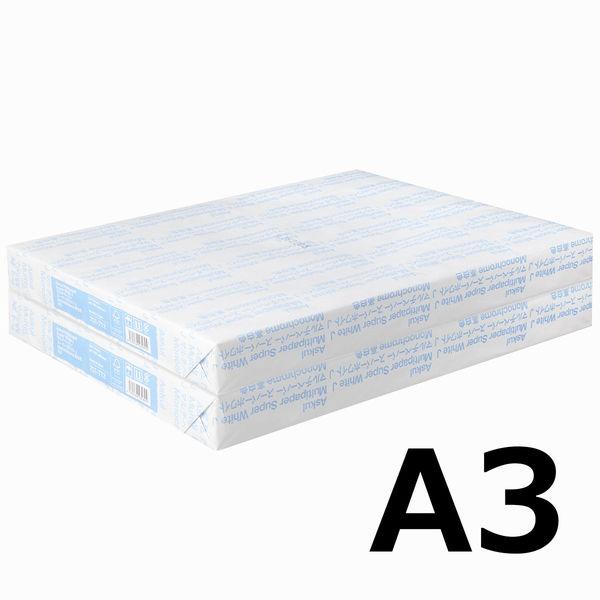 コピー用紙 マルチペーパー スーパーホワイトJ A3 1セット(1000枚:500枚入×2冊) 高白色 国内生産品 アスクル