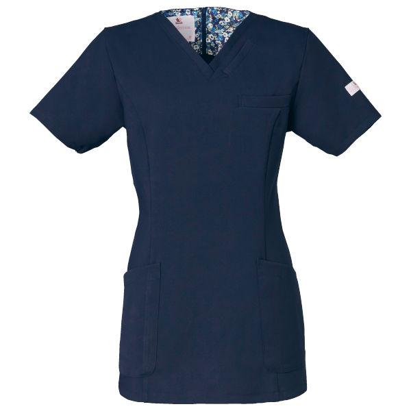 フォーク 医療白衣 ワコールHIコレクション レディススクラブ(後ろジップ) HI700-17 ダークネイビー 3L (直送品)