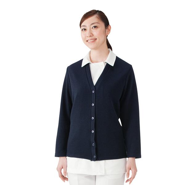 D-PHASE(ディーフェイズ) Vネックロング丈カーディガン(ツートンカラー) 女性用 長袖 ネイビー LL C10