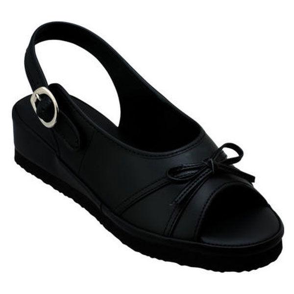 ファーストレイト リボンサンダル ブラック(黒) S(21.5~22.0cm) FR-424 ナースサンダル 1足