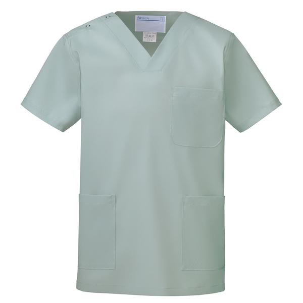 KAZEN カラースクラブ(男女兼用) 医療白衣 半袖 セージ M 133-88 (直送品)