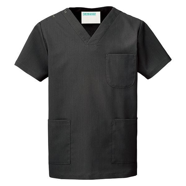 KAZEN カラースクラブ(男女兼用) 医療白衣 半袖 チャコール SS 133-91 (直送品)