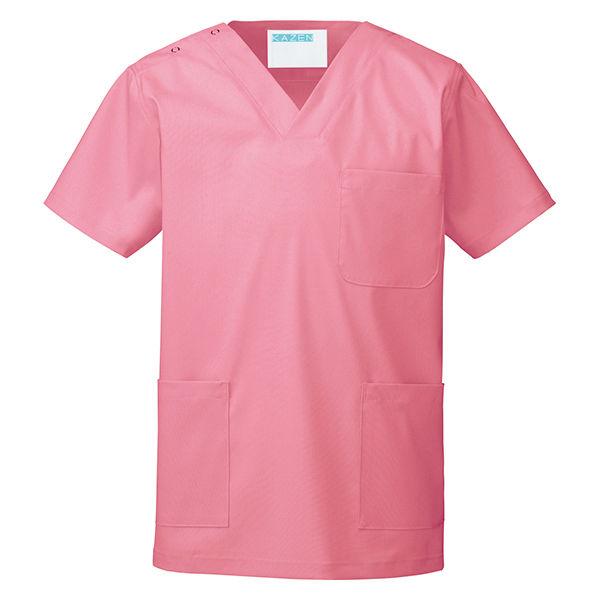 KAZEN カラースクラブ(男女兼用) 医療白衣 半袖 チェリーピンク 4L 133-92 (直送品)